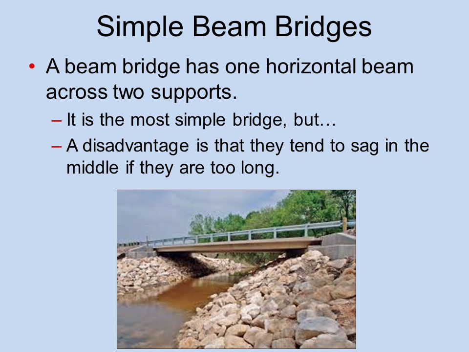 Simple Beam Bridges A beam bridge has one horizontal beam across two supports. It is the most simple bridge, but…