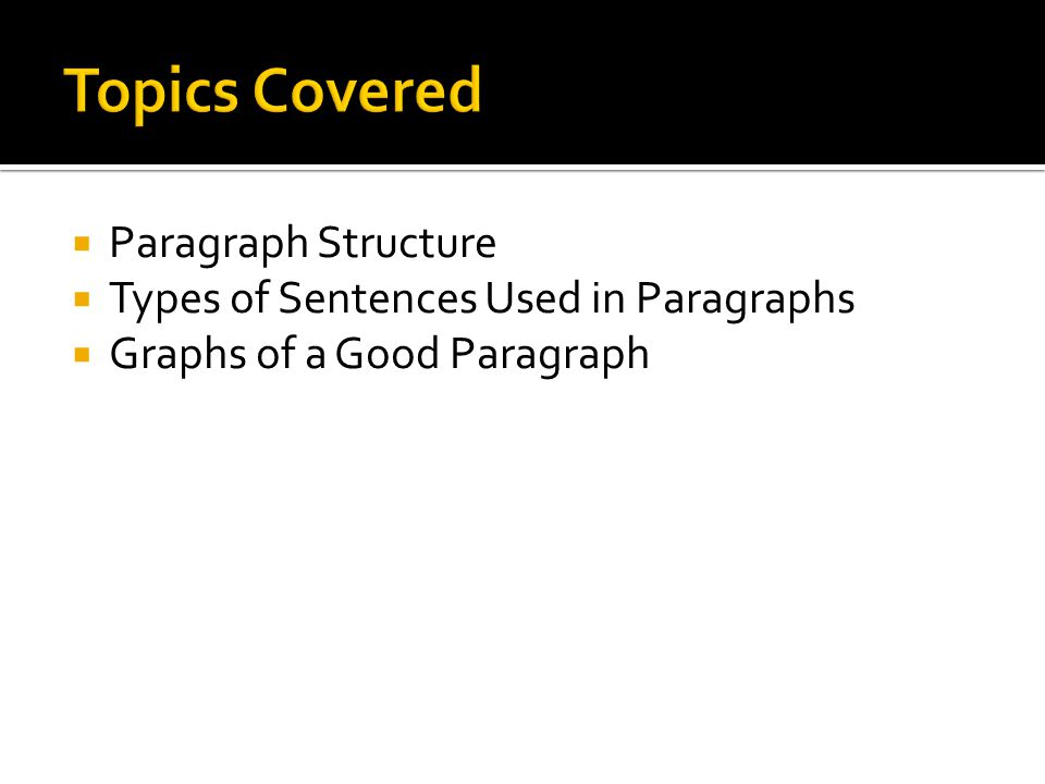 Topics Covered Paragraph Structure