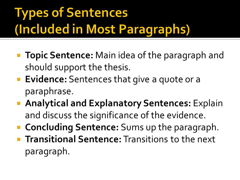Types of Sentences (Included in Most Paragraphs)