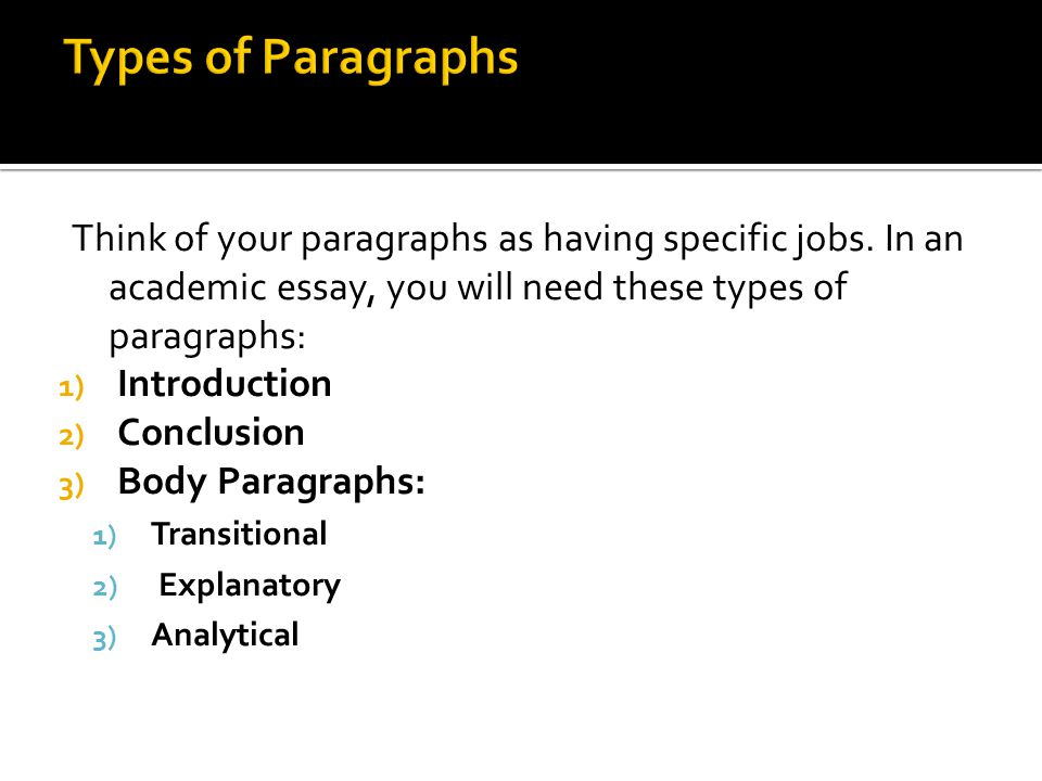 Types of Paragraphs Think of your paragraphs as having specific jobs. In an academic essay, you will need these types of paragraphs: