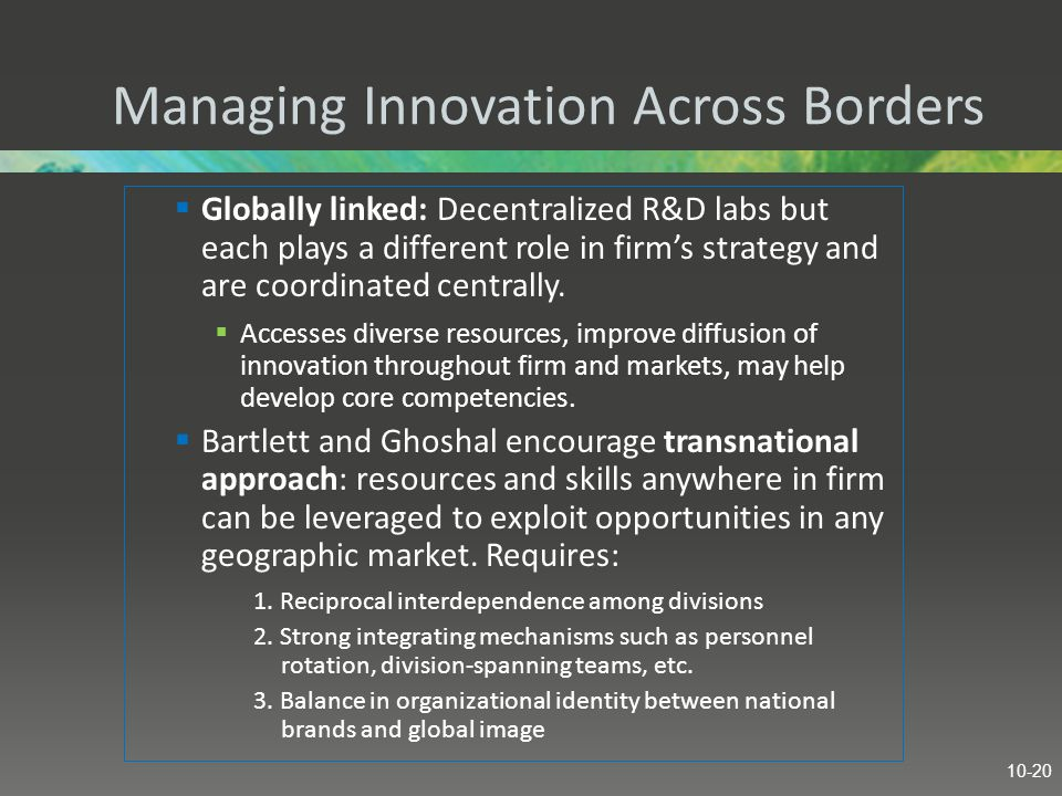 Managing Innovation Across Borders