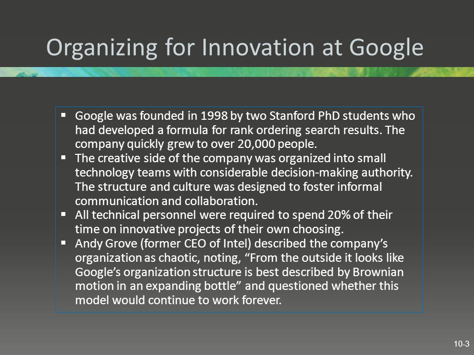 Organizing for Innovation at Google
