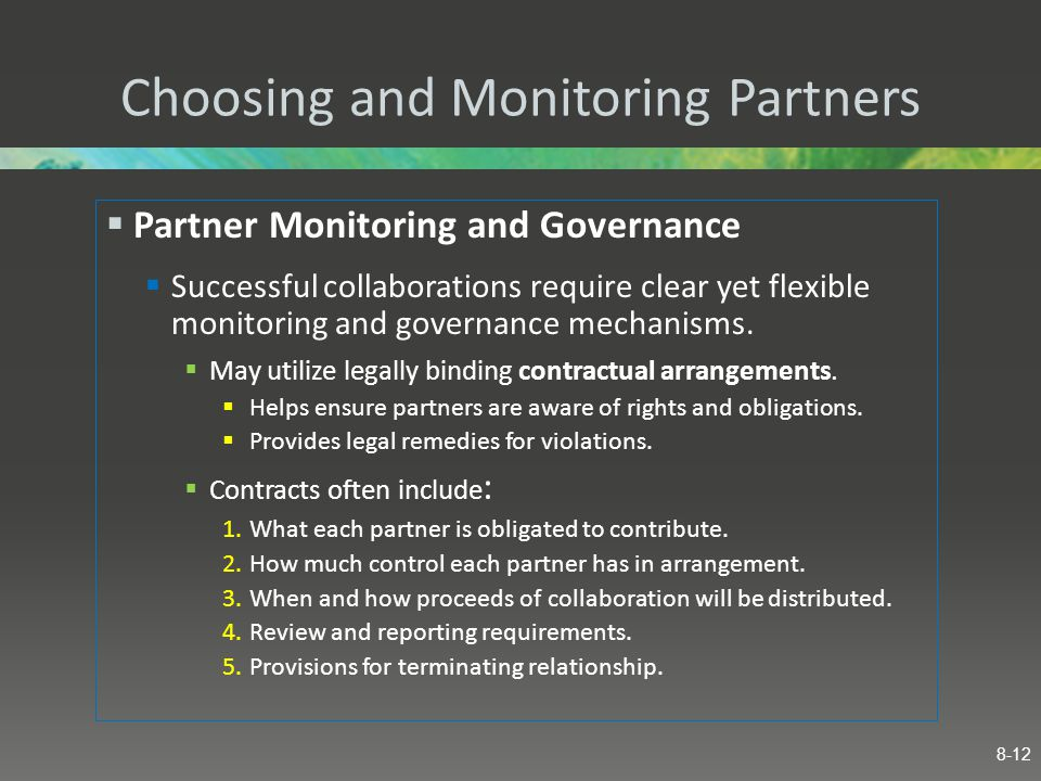 Choosing and Monitoring Partners