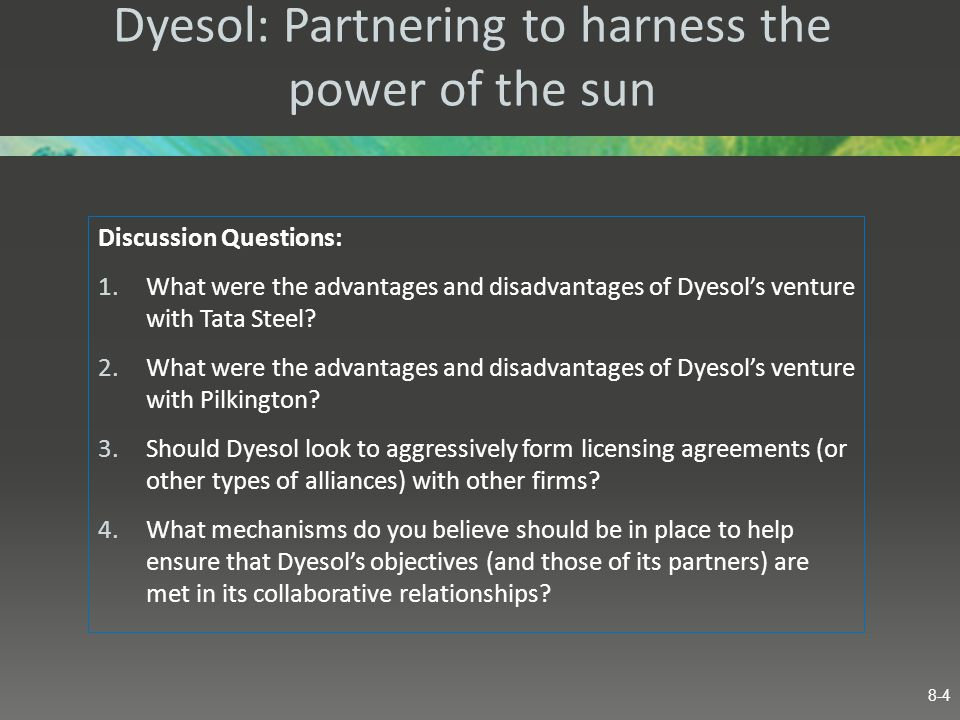 Dyesol: Partnering to harness the power of the sun