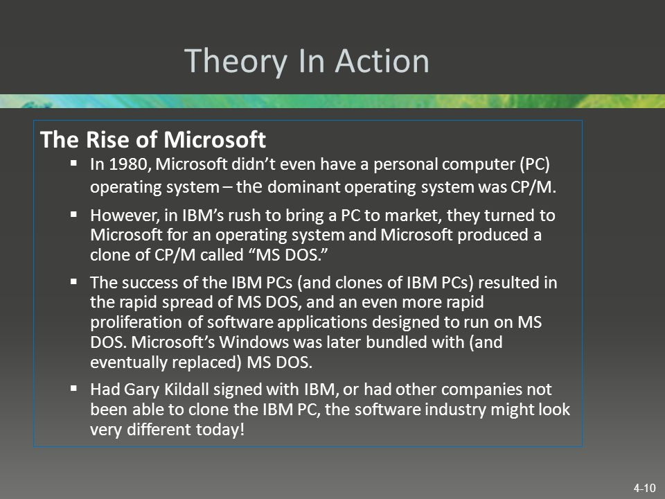 Theory In Action The Rise of Microsoft