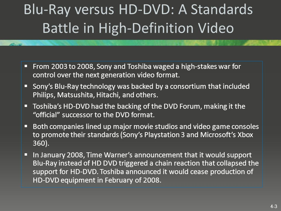Blu-Ray versus HD-DVD: A Standards Battle in High-Definition Video