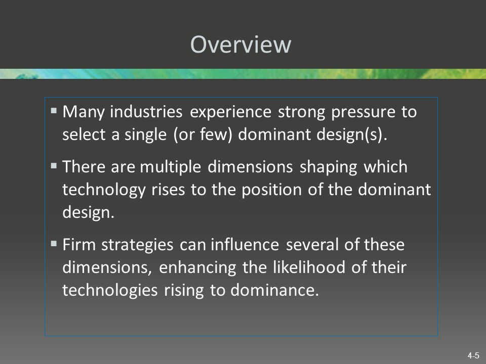 Overview Many industries experience strong pressure to select a single (or few) dominant design(s).