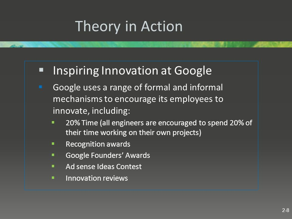 Theory in Action Inspiring Innovation at Google