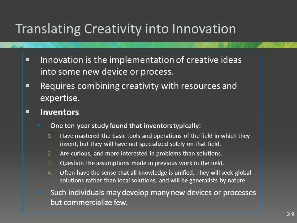 Translating Creativity into Innovation