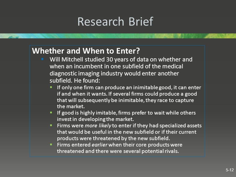 Research Brief Whether and When to Enter