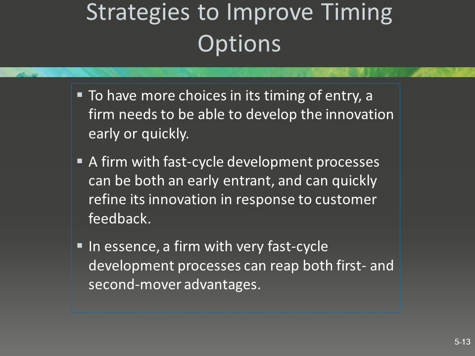 Strategies to Improve Timing Options