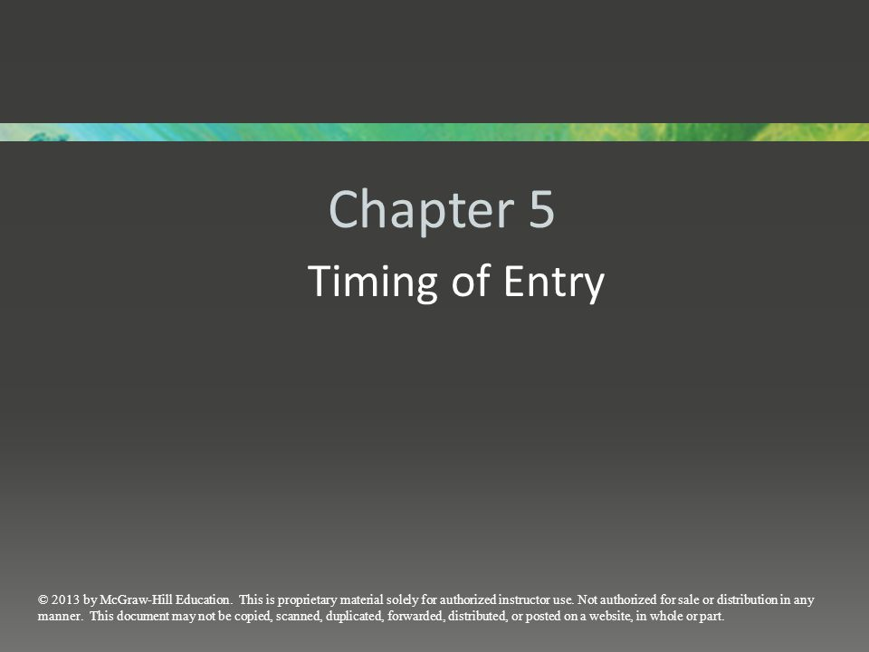Chapter 5 Timing of Entry