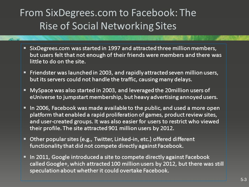 From SixDegrees.com to Facebook: The Rise of Social Networking Sites