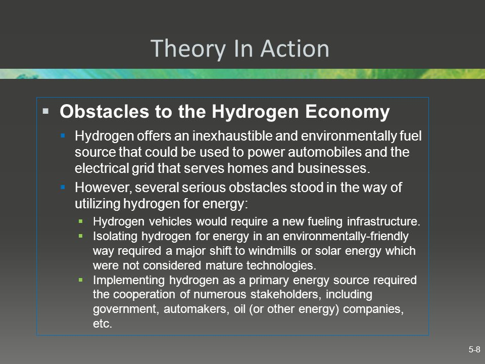 Theory In Action Obstacles to the Hydrogen Economy