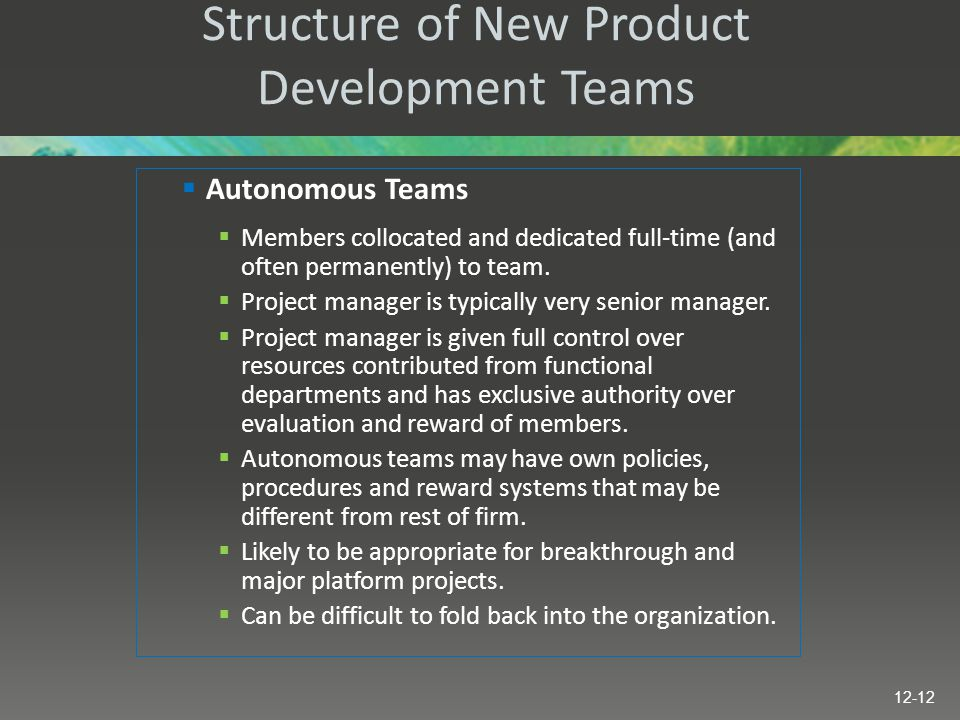 Structure of New Product Development Teams