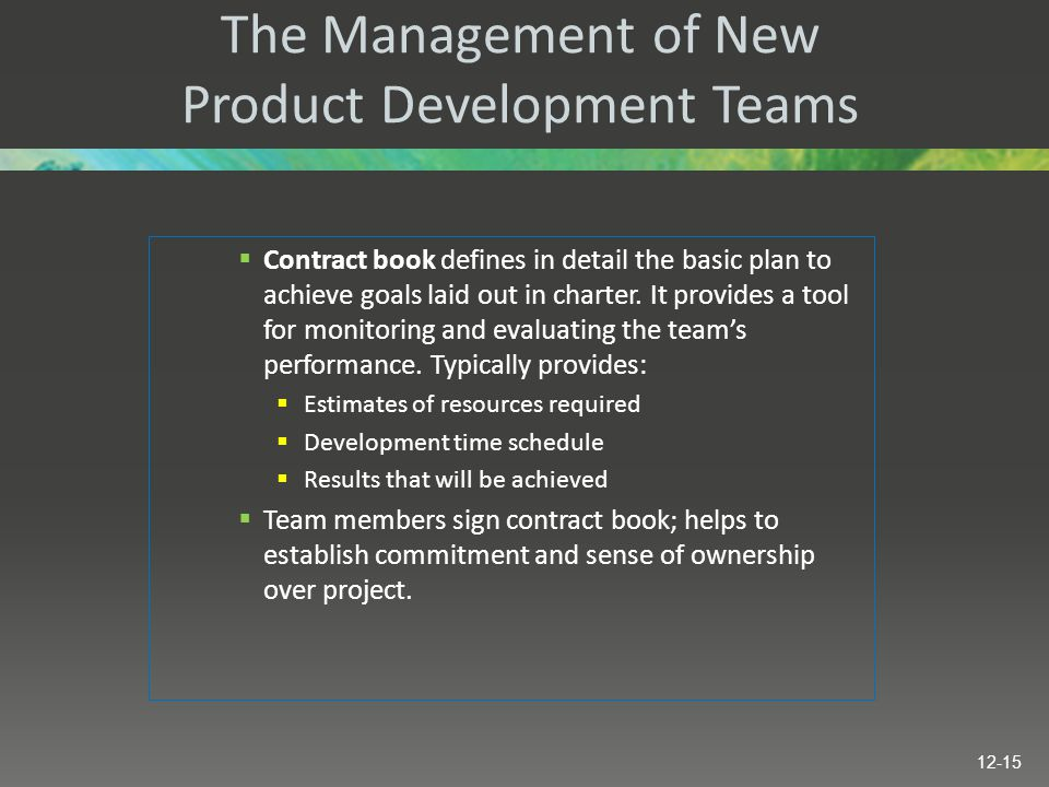 The Management of New Product Development Teams