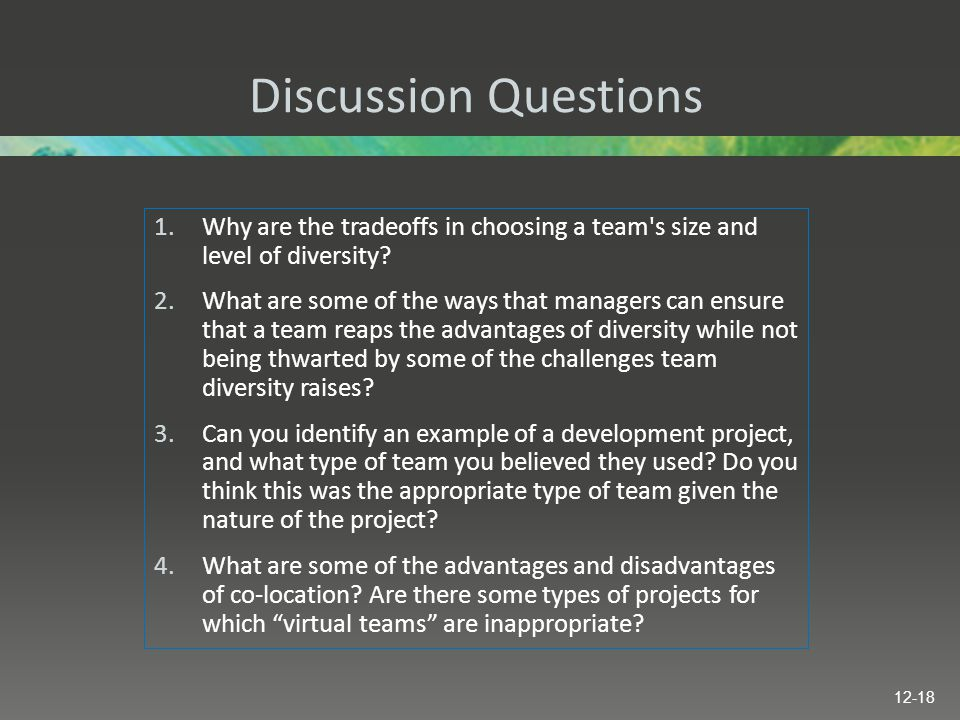 Discussion Questions Why are the tradeoffs in choosing a team s size and level of diversity