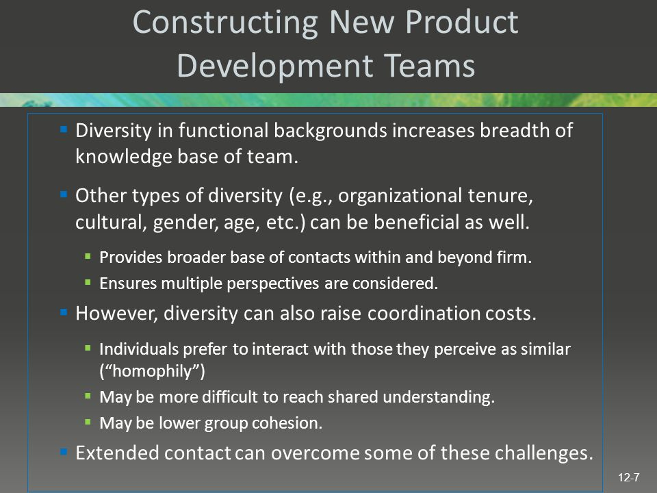 Constructing New Product Development Teams