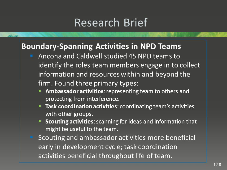 Research Brief Boundary-Spanning Activities in NPD Teams