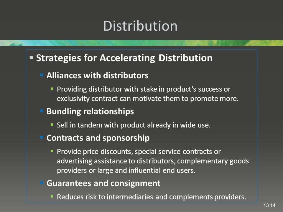 Distribution Strategies for Accelerating Distribution