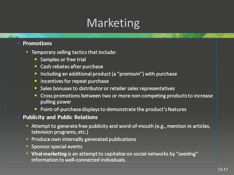 Marketing Promotions Publicity and Public Relations