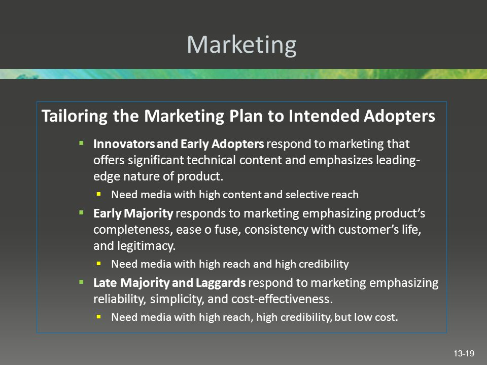 Marketing Tailoring the Marketing Plan to Intended Adopters