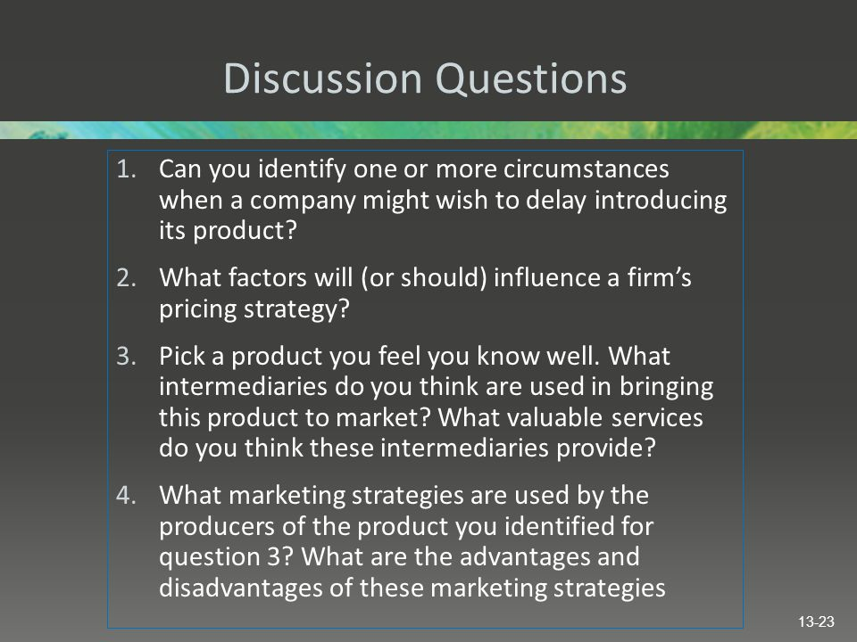 Discussion Questions Can you identify one or more circumstances when a company might wish to delay introducing its product