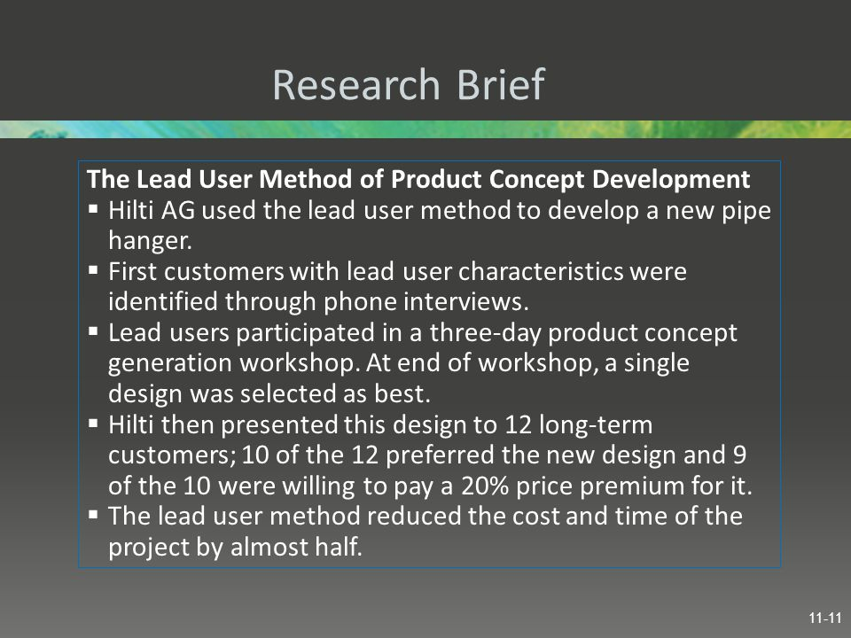 Research Brief The Lead User Method of Product Concept Development