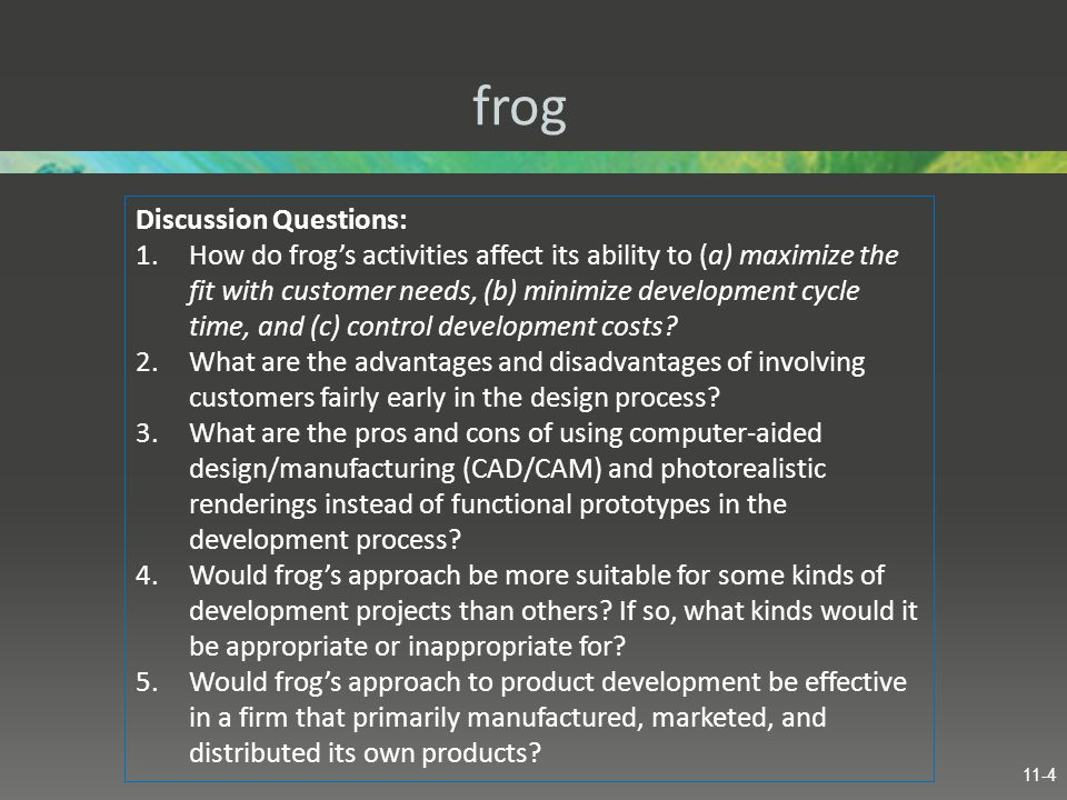 frog Discussion Questions: