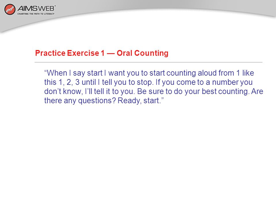 Practice Exercise 1 — Oral Counting