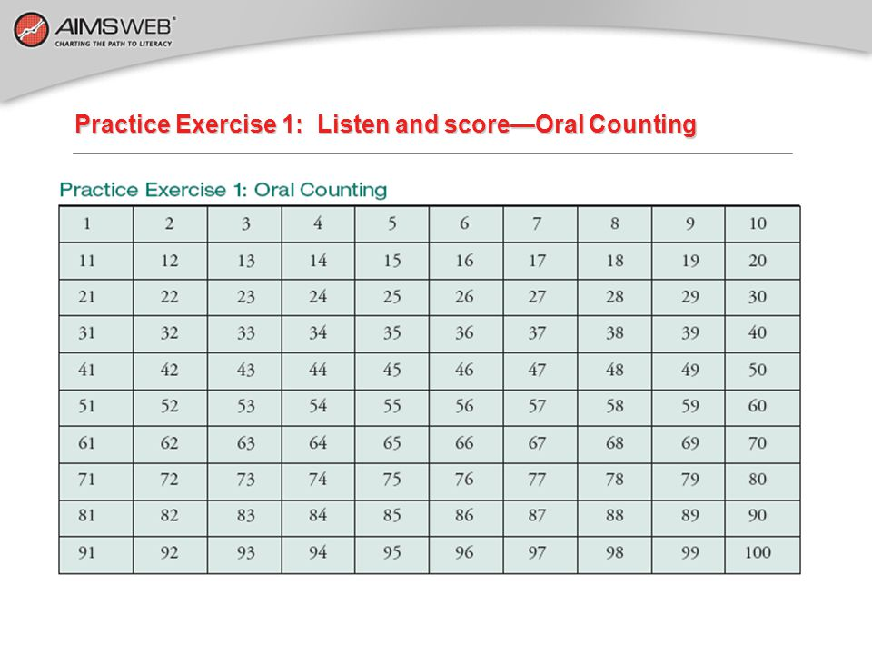 Practice Exercise 1: Listen and score—Oral Counting