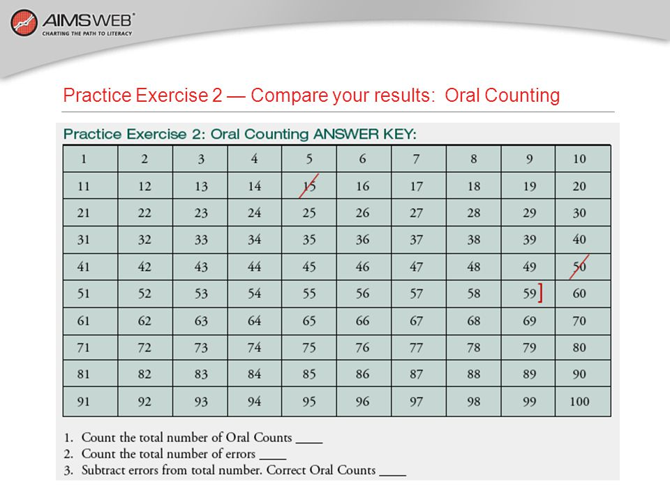 Practice Exercise 2 — Compare your results: Oral Counting