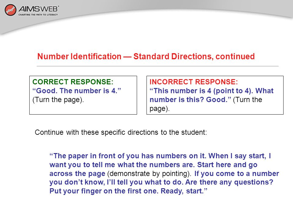 Number Identification — Standard Directions, continued