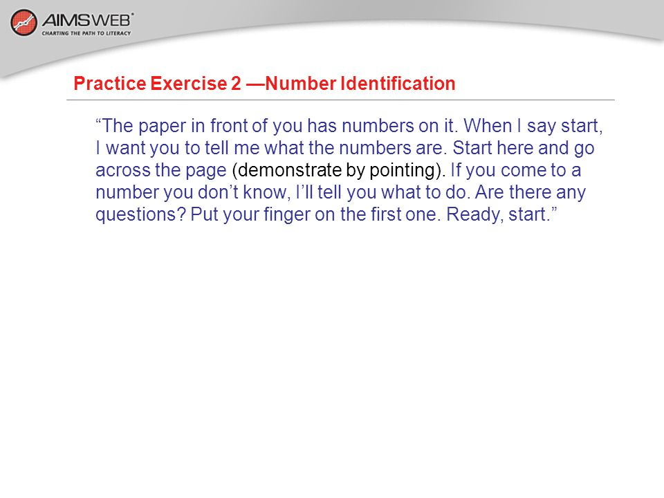 Practice Exercise 2 —Number Identification