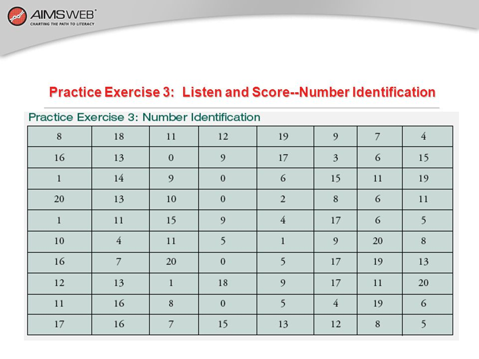 Practice Exercise 3: Listen and Score--Number Identification