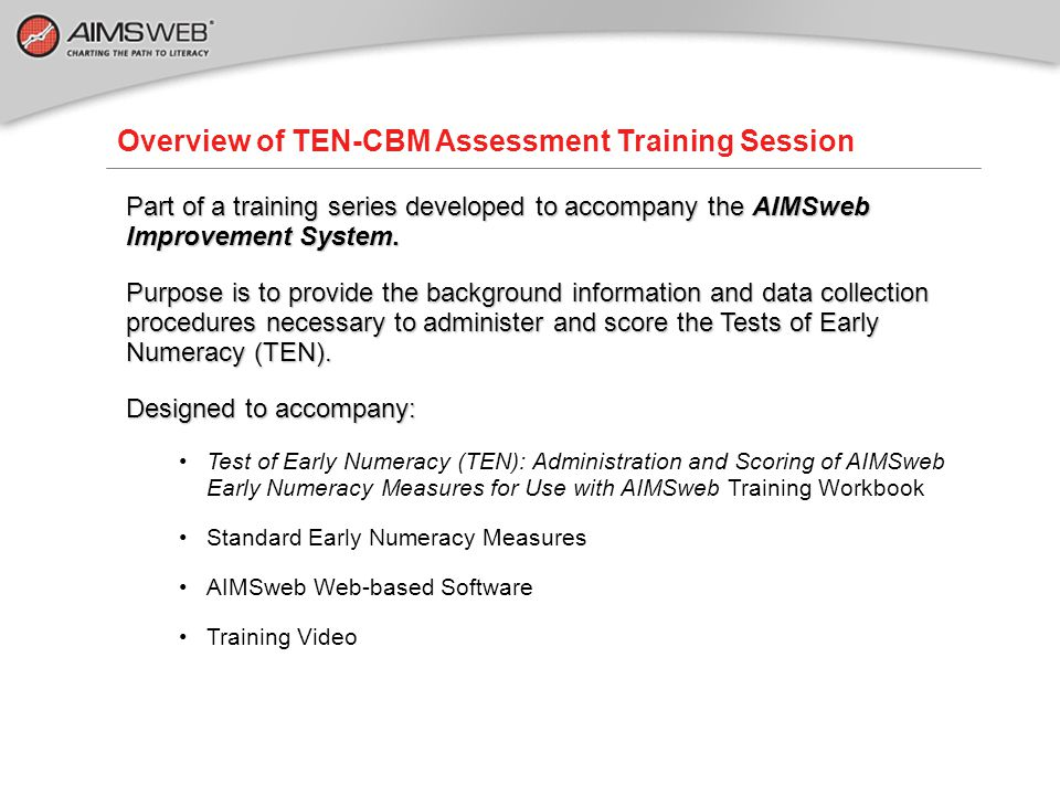Overview of TEN-CBM Assessment Training Session