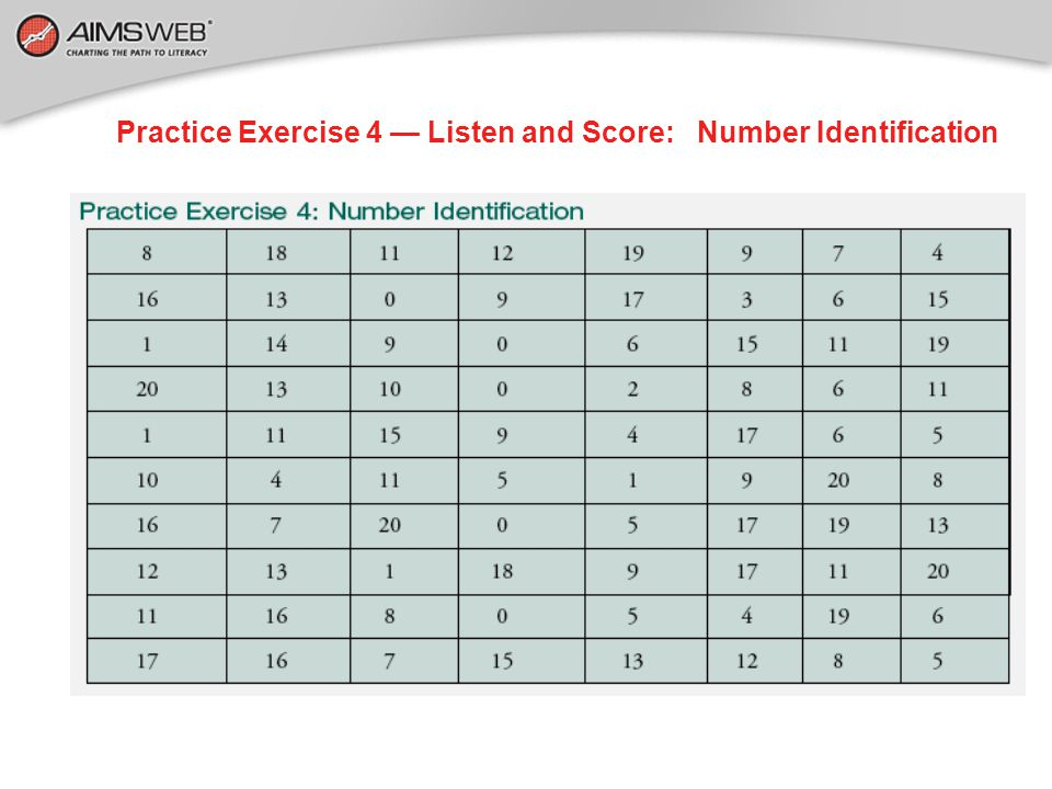 Practice Exercise 4 — Listen and Score: Number Identification