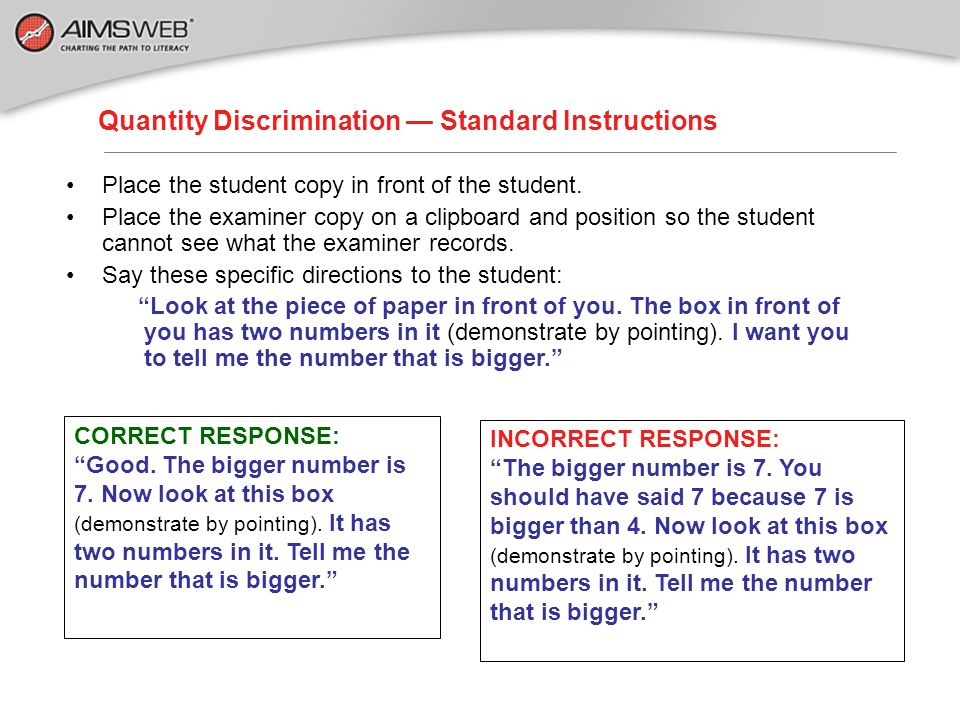 Quantity Discrimination — Standard Instructions