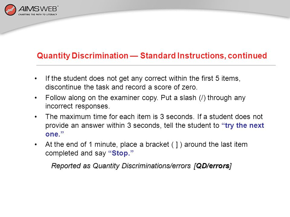 Quantity Discrimination — Standard Instructions, continued
