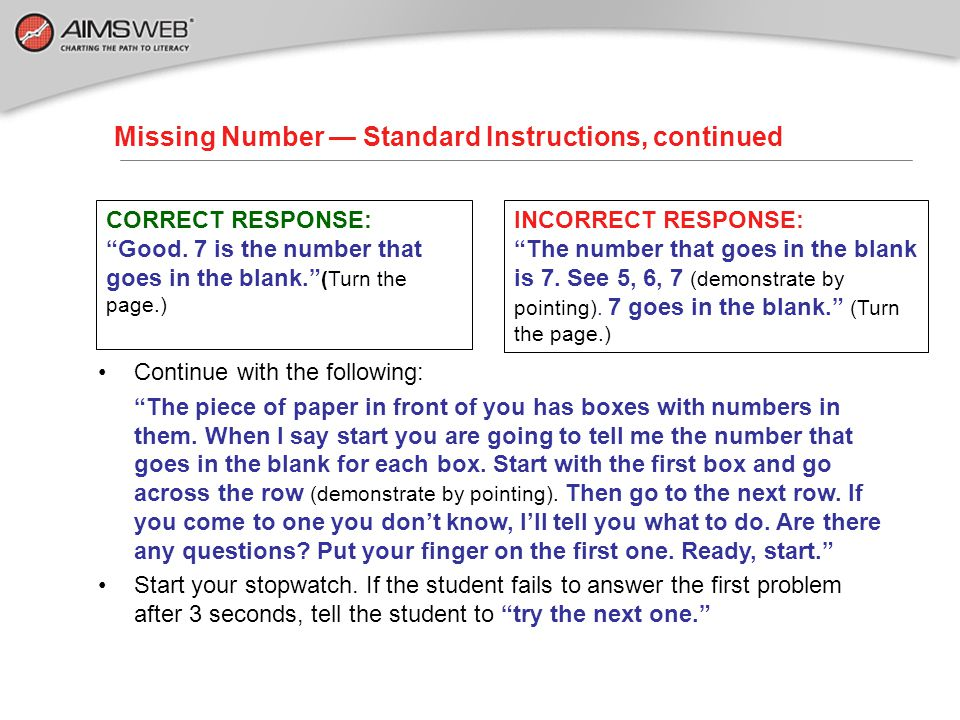 Missing Number — Standard Instructions, continued