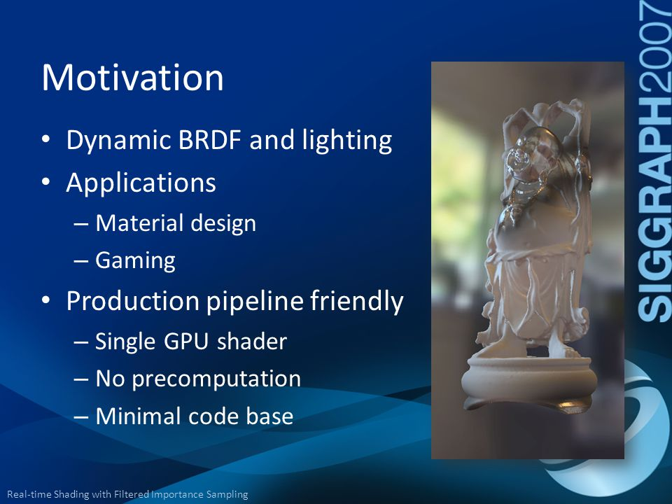 Motivation Dynamic BRDF and lighting Applications
