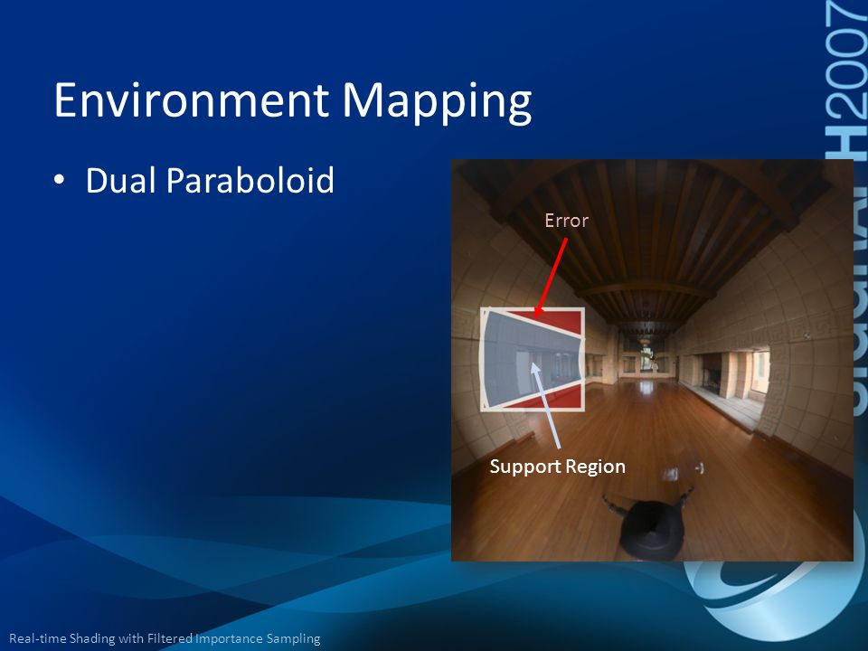 Environment Mapping Dual Paraboloid Error Support Region