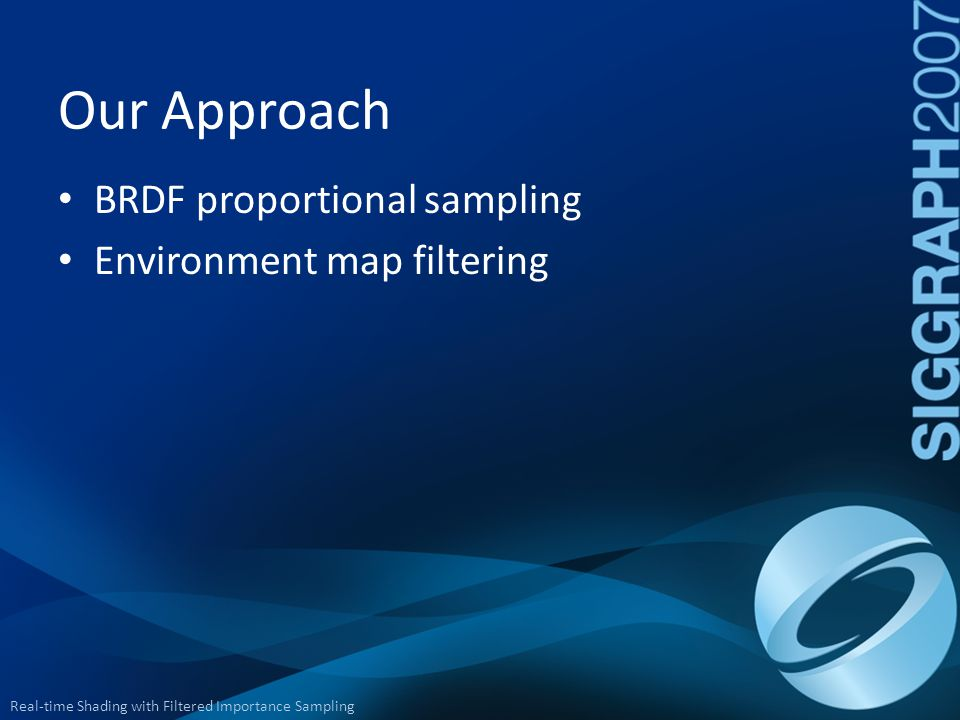 Our Approach BRDF proportional sampling Environment map filtering
