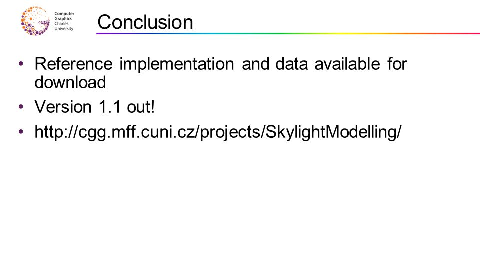 Conclusion Reference implementation and data available for download