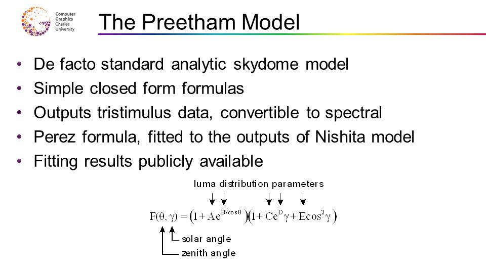 The Preetham Model De facto standard analytic skydome model