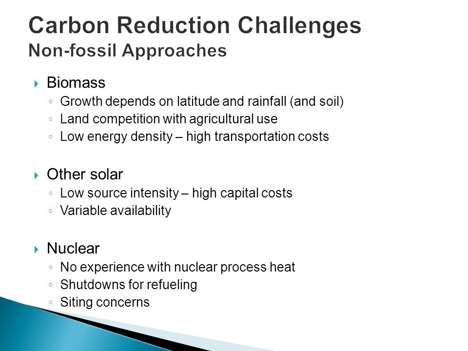Carbon Reduction Challenges Non-fossil Approaches