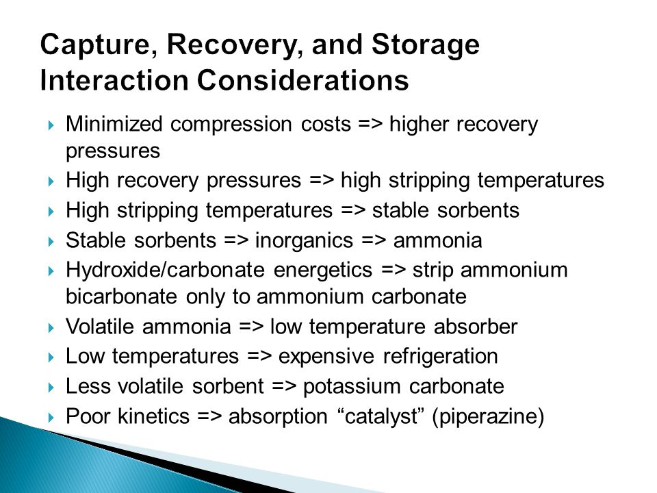 Capture, Recovery, and Storage Interaction Considerations