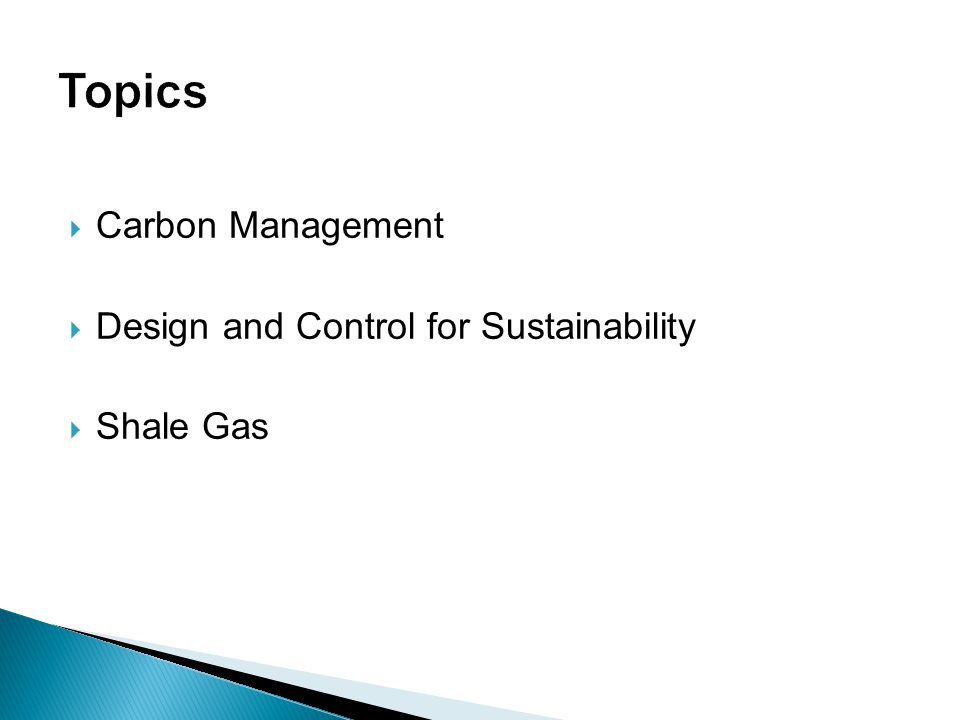 Topics Carbon Management Design and Control for Sustainability