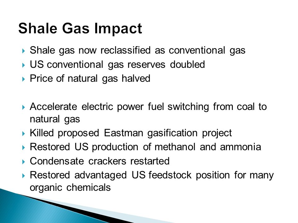 Shale Gas Impact Shale gas now reclassified as conventional gas