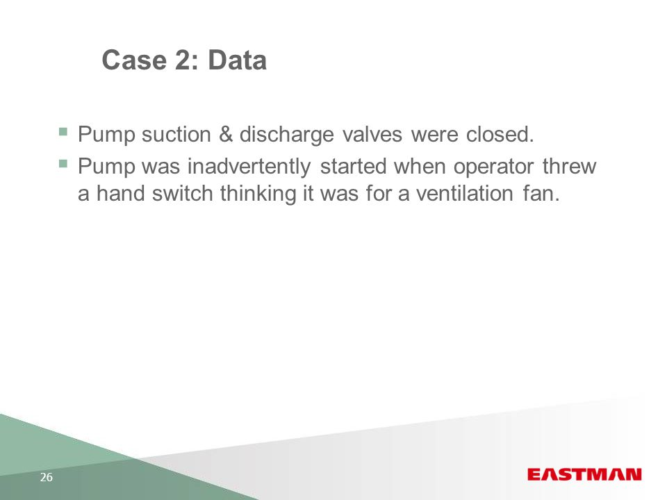 Case 2: Data Pump suction & discharge valves were closed.